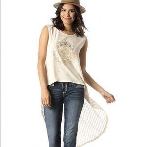 Miss Me Hi-Lo Sleeveless Embellished Top